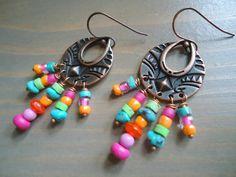 Tribal Ethnic Gypsy Colorful Chandelier Earrings by BijouxFan on Etsy