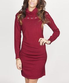 Look at this #zulilyfind! Burgundy Button Cowl Neck Dress #zulilyfinds