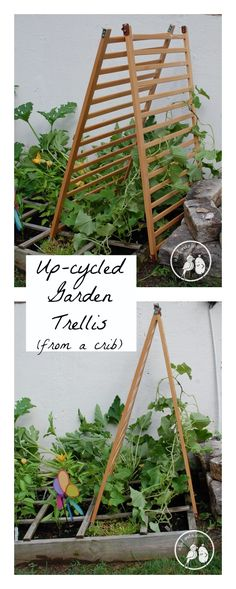 Up-cycled Garden Trellis - Before you get rid of that old crib, consider reusing it in the garden this year!