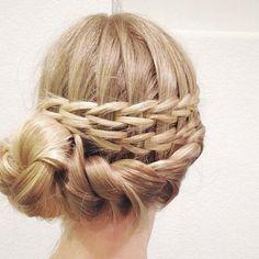 Scissor braid on this twisted updo