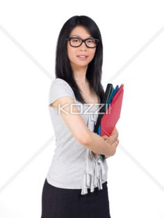 Smiling Woman With Folders - A smiling woman with many folders.