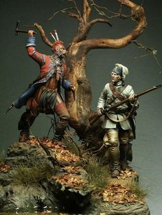 American Indian attacks a soldier diorama.