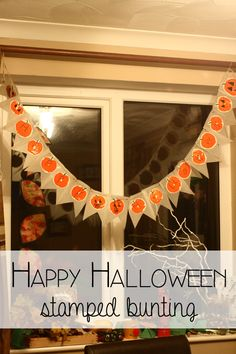 Easy to make stamped Happy Halloween Pumpkin Bunting. Quick and simple craft for some last minute Halloween Decorations for the home.