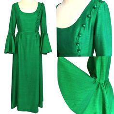 RARE 60s Marcel Fenez Vintage Raw Silk Emerald #clothing #women #dress @EtsyMktgTool #vintagegreendress #stpatsdaydress #springgreendress St Patrick's Day Dress, St Patrick's Day Outfit, Outfit Of The Day, Occasion Dresses, Day Dresses, Dresses For Sale, Dress Sale, Maxi Dress With Sleeves, Silk Dress