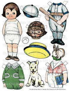 Dolly Dingle's Friend Sammy Baseball Printable Paper Doll Digital Collage Sheet
