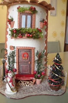 Kirigami, Homemade Clay, Tuile, Christmas Town, Altered Bottles, Holiday Cakes, Bottles And Jars, Air Dry Clay, Fairy Houses