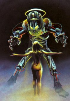 ROBOT AND GIRL 1976 - Chris Achilleos -