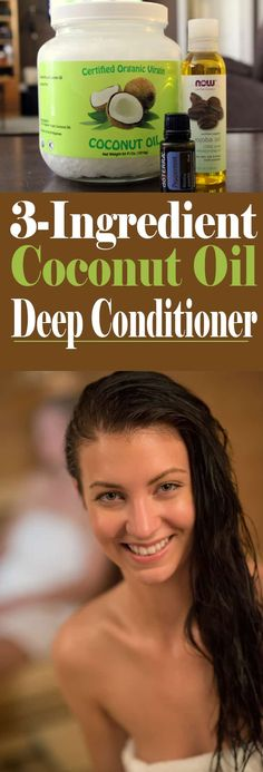 Learn how to deep condition your hair with a DIY Coconut Oil Deep Conditioner. This deep conditioner hydrates the hair with 3 natural ingredients! Coconut Oil Lotion, Coconut Oil Hair Mask, Coconut Oil For Acne, Coconut Oil Uses, Organic Coconut Oil, Coconut Oil Conditioner, Homemade Deep Conditioner, Deep Hair Conditioner, Diy Conditioner