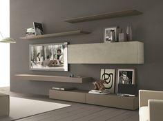 Parete attrezzata componibile fissata a muro con porta tv InclinART - 265 by Presotto Industrie Mobili design Pierangelo Sciuto