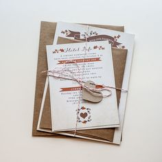 Rustic Fall Wedding Invitations / / Brown by YellowDoorCreative, $2.00