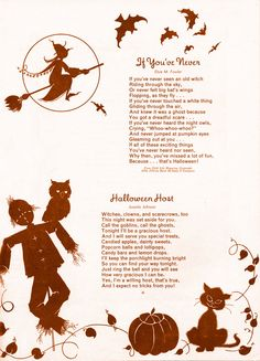 """If you've Never"" by Essie M. Fowler and ""Halloween Host"" by Juanita Johnson Vintage Halloween Cards, Halloween Poems, Halloween Stories, Samhain Halloween, Halloween Prints, Halloween Pictures, Holidays Halloween, Spooky Halloween, Happy Halloween"