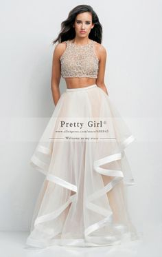 2015 High Quality Beading Top Tulle Long Two Piece Evening Dresses Vestido De Festa Longo Elegant Formal Prom Party Gowns Cheap
