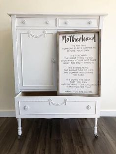 "Motherhood Is.. + Made from quality wood | latex paint | wood stain + Signs will automatically come with BLACK font on white backgrounds or WHITE font on black backgrounds unless you place a custom order and request otherwise + Measurements are approximate and can vary by 1"" + All signs come ready to hang with wire bac"