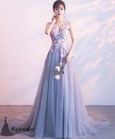 Applique Long Prom Dress V-Neck Evening Dress Tulle A-Line Formal Dress,HS513