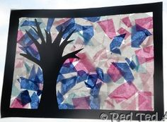 Wonderful Winter-Colored Tissue Paper--make a black frame heart and fill in with tissue paper