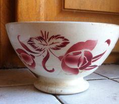 ANCIEN GRAND BOL FAIENCE DIGOIN 15cm DECOR FLEURS BORDEAUX n° 9329 bowl