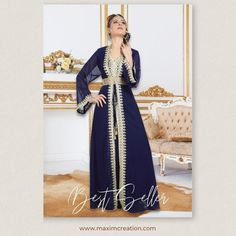 Looking for a classy outfit to wear to a wedding or formal occasion? This best-selling, navy blue Kaftan Dress with golden lace work is just what you need! Available in sizes XS to 5XL. Product no: 6443 Kaftan Abaya, Caftan Dress, Lace Dress, Moroccan Caftan, Lace Embroidery, Classy Outfits, Formal, Lady, Coat