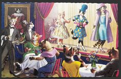 Alfred Mainzer Dressed Cats Postcard ~ Cat Fashion Show