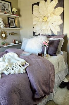Guest Room Amethyst West Elm bedding with Ikea Ekby Shelves at TidyMom.net