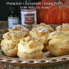 Pumpkin Cinnamon Cream Puffs. Made totally from scratch and oh my goodness, I'm going to have to try these for my husband who adores cream puffs!