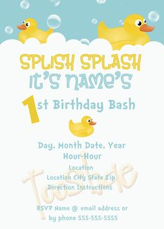 Rubber duck birthday invitation rubber duck invitation rubber rubber ducky birthday invitation 500 via etsy filmwisefo Image collections