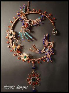 Swallow bird suncatcher Copper Jewelry, Wire Jewelry, Jewelry Art, Jewelery, Copper Wire, Wire Crafts, Metal Crafts, Diy Dream Catcher Tutorial, Beaded Spiders