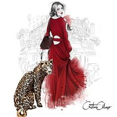 'Petit Leopard' (IMPOSSIBLE PETS SERIES)  'Impossible pets' will be a collection and this one is just fiction, a little fantasy: leopards must be wild and free, of course, they're no pets!  Maybe a bit inspired by the classic movie 'Bringing Up Baby'.  Who can recognize this location?  #cristinaalonso #illustrated #illustration #illustrator #fashionista #fashiondrawing #fashionblogger #fashionillustration #leopard #print #rwd #dress #paris #cafedeflore #beauty #style #chic #drawing