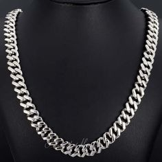 Curb Boys Men's Chain Silver 316 L Stainless Steel Necklace Size: 10 mm, 18-36 inch Optional