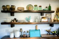 Rustic Kitchen Shelves | spinazzoladallas.com
