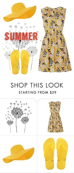 """""""Summer Breeze"""" by emitschelen ❤ liked on Polyvore featuring jcp, Oasis, Accessorize, Havaianas and summerhat"""