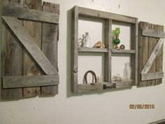 Diy shutter wall art rustic window decor new little frame with shutters inside prepare wooden . Rustic Shutters, Wood Shutters, Shutters Inside, Window Shutters, Shutter Wall Decor, Window Frames, Window Wall, Red Barns, Rustic White