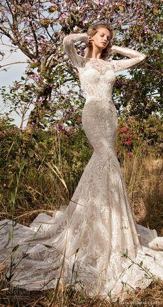 gala galia lahav spring 2017 illusion long sleeves jewel neck mermaid lace wedding dress (705) mv