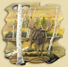 Moose in Birch Hand-Carved Wooden Wallhanging - American Expedition