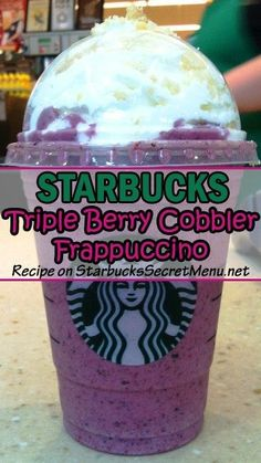 Starbucks Triple Berry Cobbler Frappuccino The perfect Frappuccino for any berry lover! We love the rich purple color too, a wonderful way to brighten up your day! Learn how to order one here! Starbucks Hacks, Starbucks Secret Menu Drinks, Frappuccino Recipe, Starbucks Frappuccino, Starbucks Smoothie, Triple Berry Cobbler, Secret Menu Items, How To Order Starbucks, Coffee Recipes