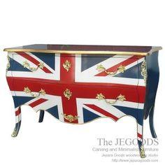Furniture manufacturer Jepara antique mahogany union jack flag mebel bendera inggris shabby chic furniture. Creative painted furniture wholesale price.