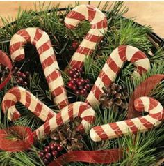 Wooden candy cane decor