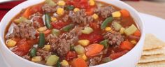Hamburger Soup Ingredients: oz) extra lean ground beef oz) uncooked ground turkey breast 1 cup finely chopped onions 2 carrots, coarse shredded 2 celery ribs, sliced 2 garlic cloves, minced 6 cups reduced sodium beef broth 2 oz) cans diced tomatoes, Beef Soup Recipes, Vegetable Soup Recipes, Ground Beef Recipes, Slow Cooker Recipes, Crockpot Recipes, Cooking Recipes, Veggie Soup, Easy Recipes, Skinny Recipes