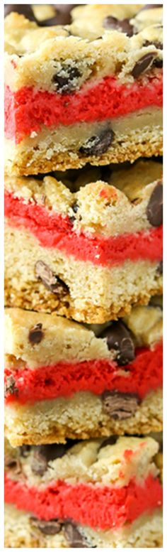 Red Velvet Cheesecake Chocolate Chip Cookie Bars ~ Delicious... Chewy chocolate chip cookie surrounds and an easy red velvet cheesecake layer