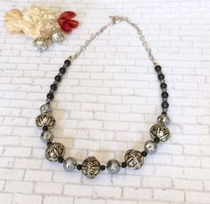 Antique Silver Beaded Necklace Set Black by BarbsBeadedJewelry Silver Bead Necklace, Silver Beads, Necklace Set, Beaded Jewelry, Handmade Jewelry, Silver Jewelry, Jewellery, Women's Jewelry Sets, Jewelry Supplies