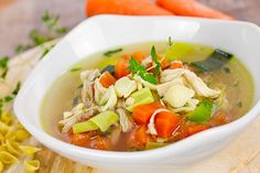 With just a few basic ingredients you can make homemade chicken soup in under 30 minutes! It's the perfect cold busting Instant Pot chicken soup recipe! Instant Pot Chicken Soup Recipe, Healthy Chicken Soup, Homemade Chicken Soup, Chicken Noodle Soup, Chicken Soup Recipes, Dill Chicken, Yum Yum Chicken, Chicken Bones, Chicken Thighs