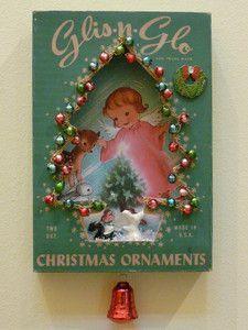 Vintage ornament box as shadow box.