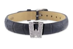 """Diamond Clip On Initial letter """"W"""" with Black Leather Bracelet CoolStyles. $360.75"""
