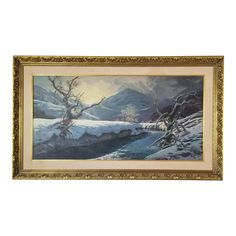 Offered for sale is a large Original vintage signed oil on canvas painting of a snowy winter landscape. Signed by the artist on lower right ANDRO and date of 1986. Medius is oil on canvas and displayed on gold painted wooden frame, There is an attached hanging wire on the reverse back side for easy wall installation..  In great vintage condition, with normal wear / marks also a stain on the back. please see all photos for additional detail. Vintage Winter, Wall Installation, Easy Wall, Winter Landscape, Gold Paint, Hanging Wire, Vintage Signs, Wooden Frames, Oil On Canvas