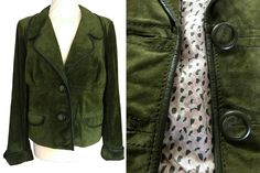 Max Mara Crocodile Moss Green Heavy Genuine Suede Leather Piped Cropped Blazer Street Jacket Short Coat, Green Suede Designer Xmas Jacket L Green Suede Jacket, Green Leather, Leather Jacket, Suede Coat, Suede Leather, Dresses For Sale, Dress Sale, Cropped Blazer, Power Dressing