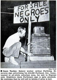 """I wonder what happened with this....   I sure bet all those neighbors were getting kinda anxious about the prospect of having to sell their homes and move once those """"dreaded"""" black people moved in, just like they did in South Side Chicago and pretty much everywhere else...."""