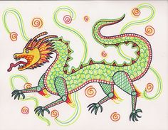 Art Lesson I-6: The Chinese Dragon. Learn to draw a dragon and use patterned motifs to color it. Study about Chinese culture and history, and read Chinese stories.