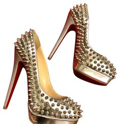 Get the must-have platforms of this season! These Christian Louboutin Silver and Spikes Platforms Size US Regular (M, B) are a top 10 member favorite on Tradesy. Louboutin Shoes Women, Christian Louboutin Shoes, Pink Nike Shoes, Pink Nikes, Glitter Shoes, Silver Shoes, Super High Heels, Red Sole, Red Bottoms