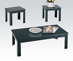 ACME 02168BK 3-PIECE CALICO COFFEE/END TABLE SET, BLACK   -Click image twice for more info - See a larger selection of coffee table sets at http://zcoffeetables.com/product-category/coffee-table-sets/ - home, home decor, home ideas, furniture, gift ideas,