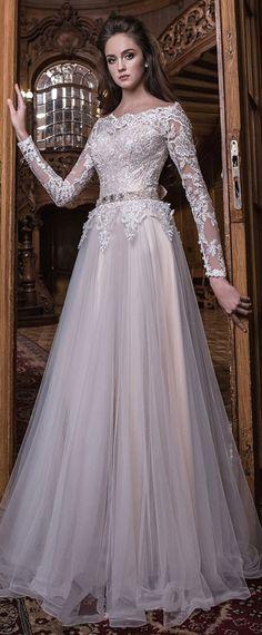 Elegant Tulle Off-the-shoulder Neckline Natural Waistline A-line Wedding Dress With Lace Appliques & Beadings