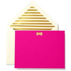 kate spade new york Pink Correspondence Cards (1,670 INR) ❤ liked on Polyvore featuring home, home decor, stationery, filler, accessories, house, objects and gold bow